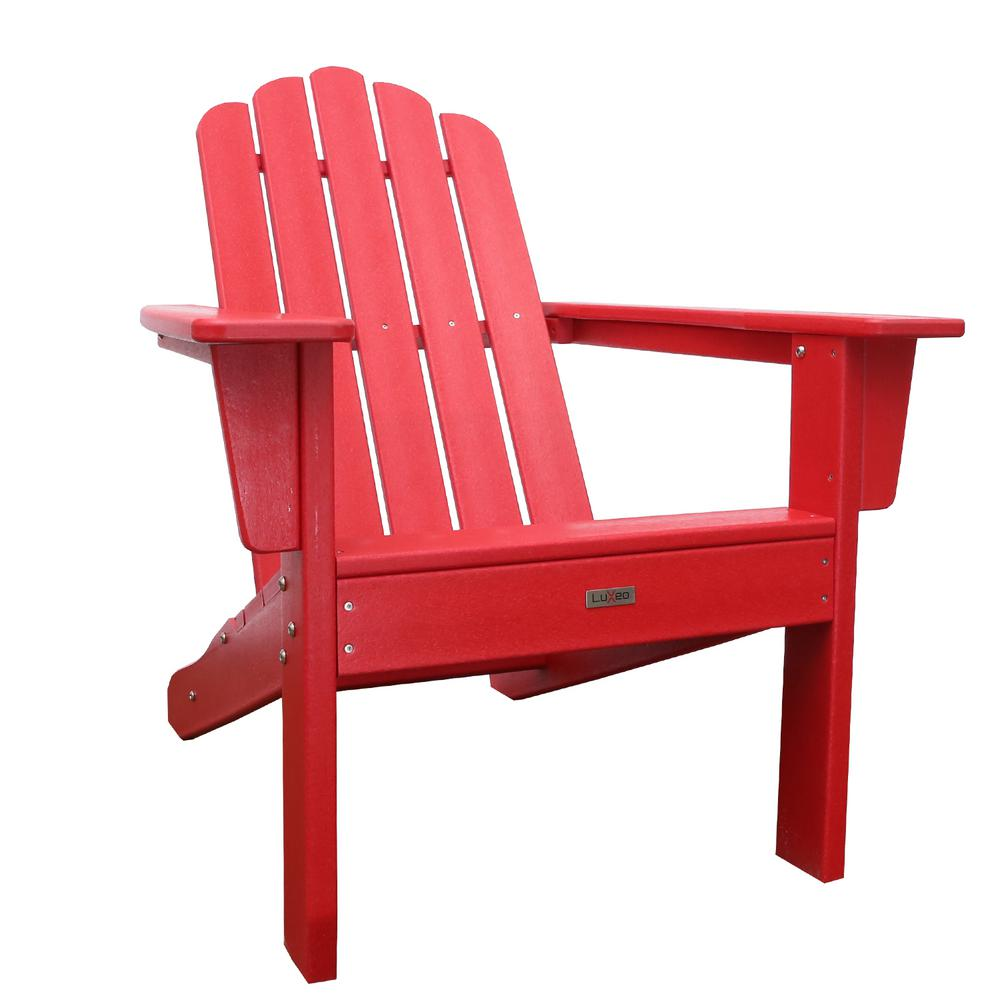 Marina Red Poly Plastic Outdoor Patio Adirondack Chair