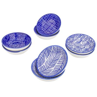 3.45 in. 2.35 fl. oz. Blue Patterned Porcelain Dipping Bowls Set for Sauce Cheese (Set of 8)