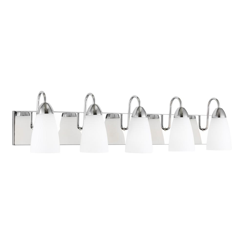 Sea Gull Lighting Seville 35.88 in. 5-Light Chrome Vanity Light