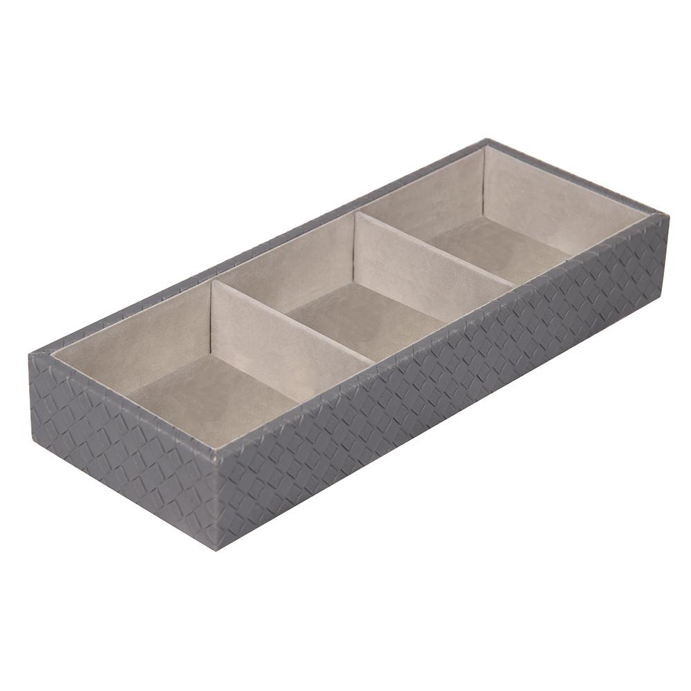 Home Basics Faux Leather Jewelry Organizer, Grey Store and organize your jewelry and other essentials in this open jewelry organizer. Measures 12 in. x 12 in. x 2 in. Made of leather. Features 3 compartments to organize make-up jewelry, keys and many more home items. Color: Grey.