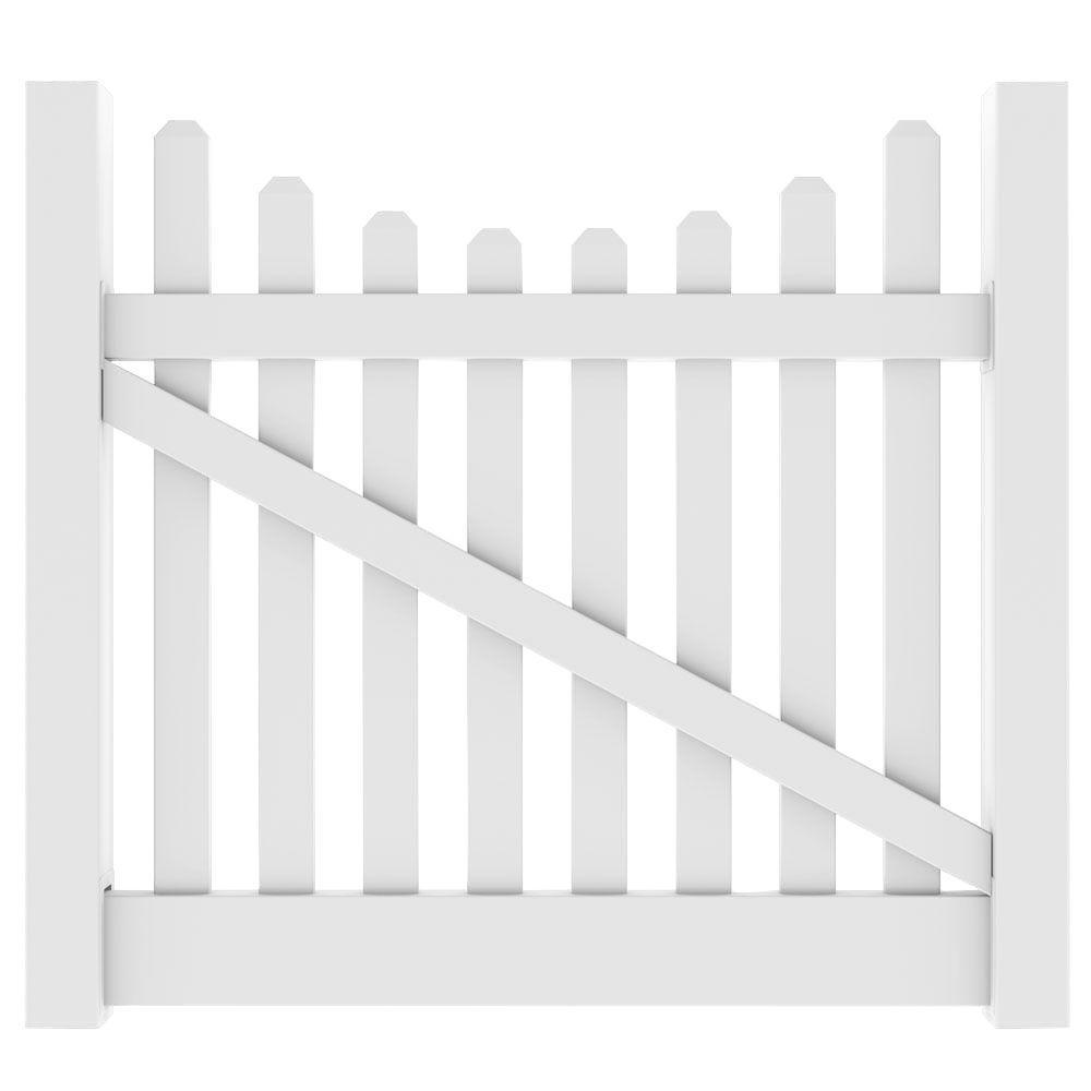 Veranda 5 ft. W x 4 ft. H Kettle Scallop White Drive Gate Kit