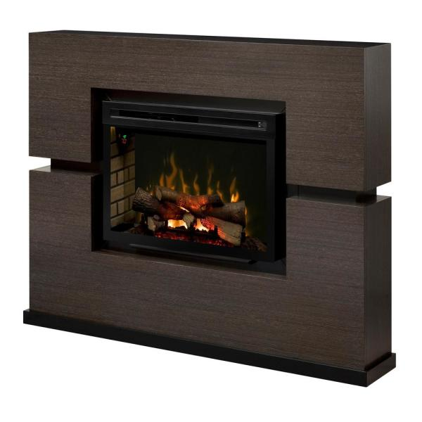 Linwood 65 in. Freestanding Mantel Electric Fireplace with 30 in. Logs in Rift Gray