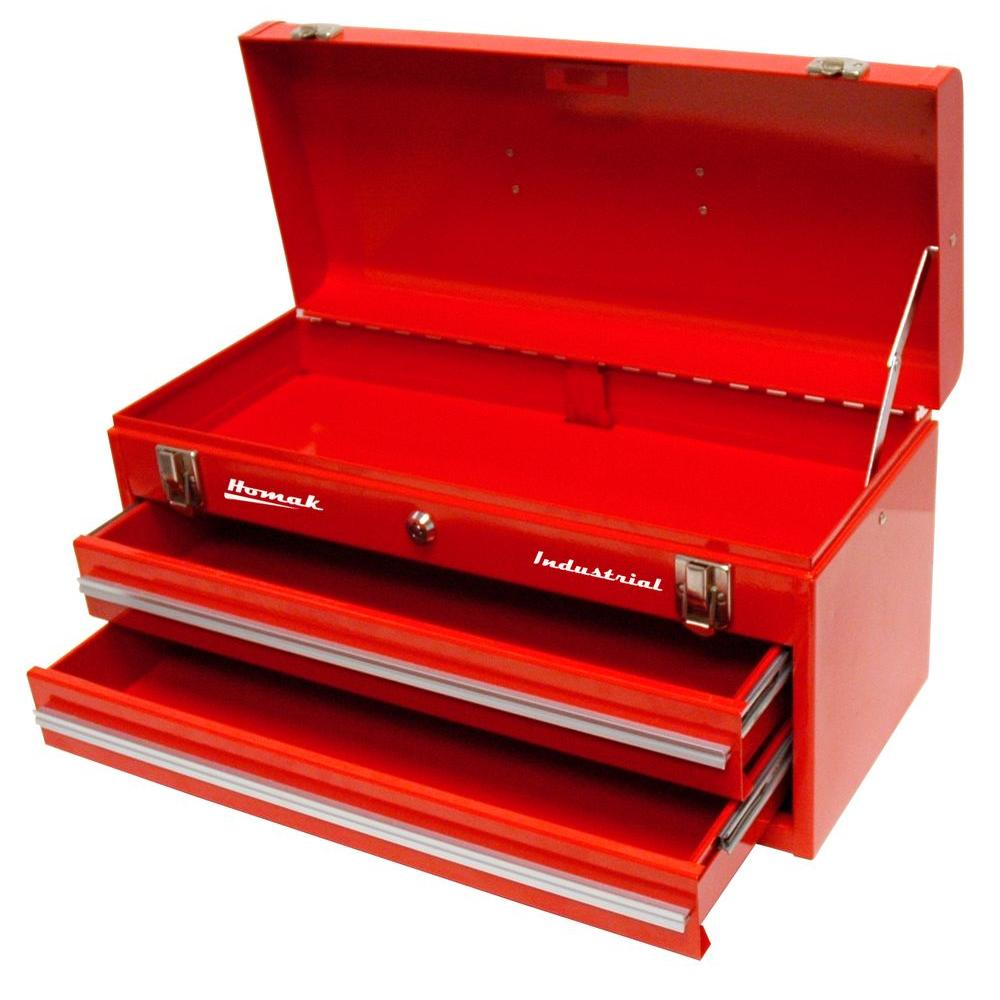 Industrial 20 in. 2-Drawer Friction Toolbox in Red