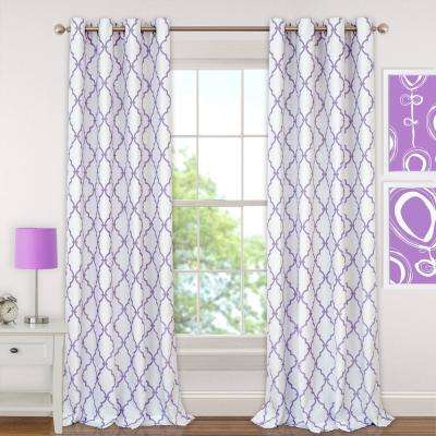 Candice 52 in. W x 95 in. L Polyester Single Blackout Window Curtain Panel in Purple