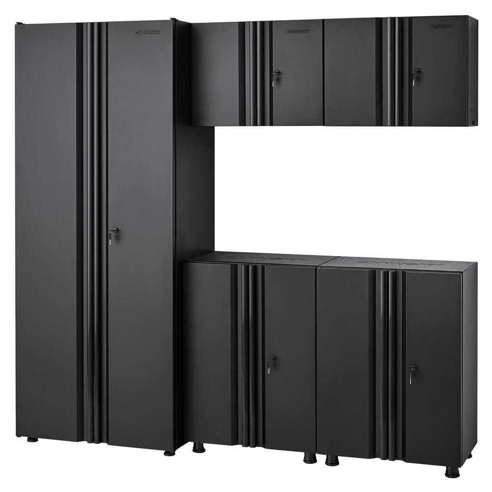 Welded 78 in. W x 75 in. H x 19 in. D Steel Garage Cabinet Set in Black (5-Piece)
