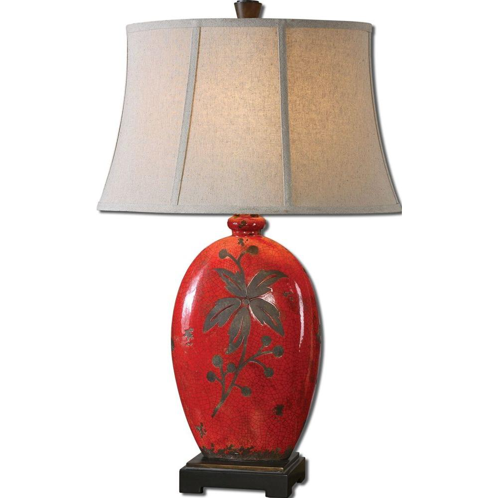 Global Direct 30 in. Decorative Antiqued Crackled Red Ceramic Table Lamp-DISCONTINUED