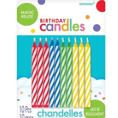2.5 in. Red Blue Yellow and Green Wax Spiral Design Re-Light Birthday Candles (10-Count, 12-Pack)