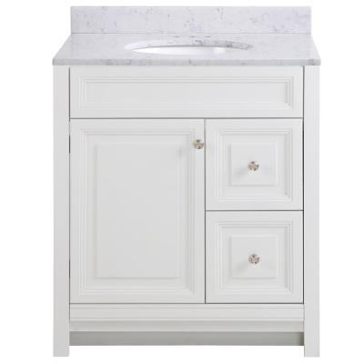 Brinkhill 31 in. W x 22 in. D Bathroom Vanity in White with Stone Effect Vanity Top in Pulsar with White Sink