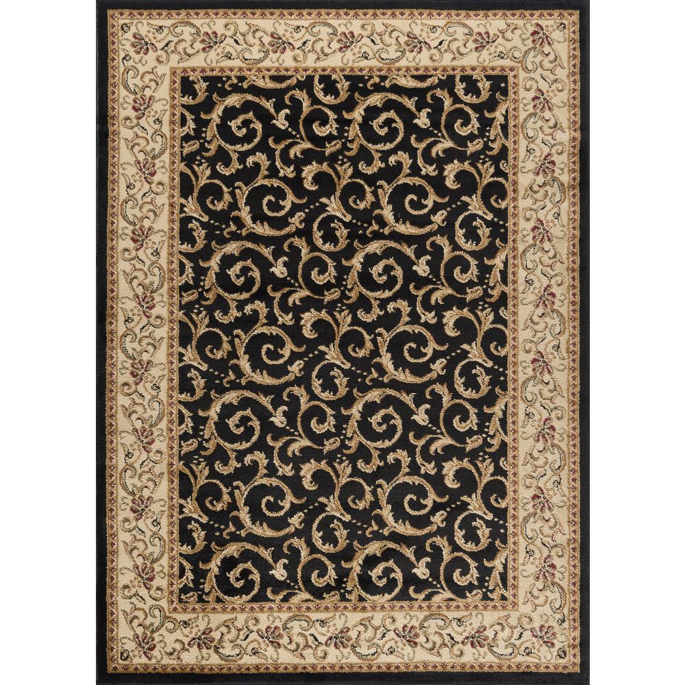 tayse rugs elegance black 5 ft x 7 ft indoor area rug 5403 black 5x7 the home depot. Black Bedroom Furniture Sets. Home Design Ideas