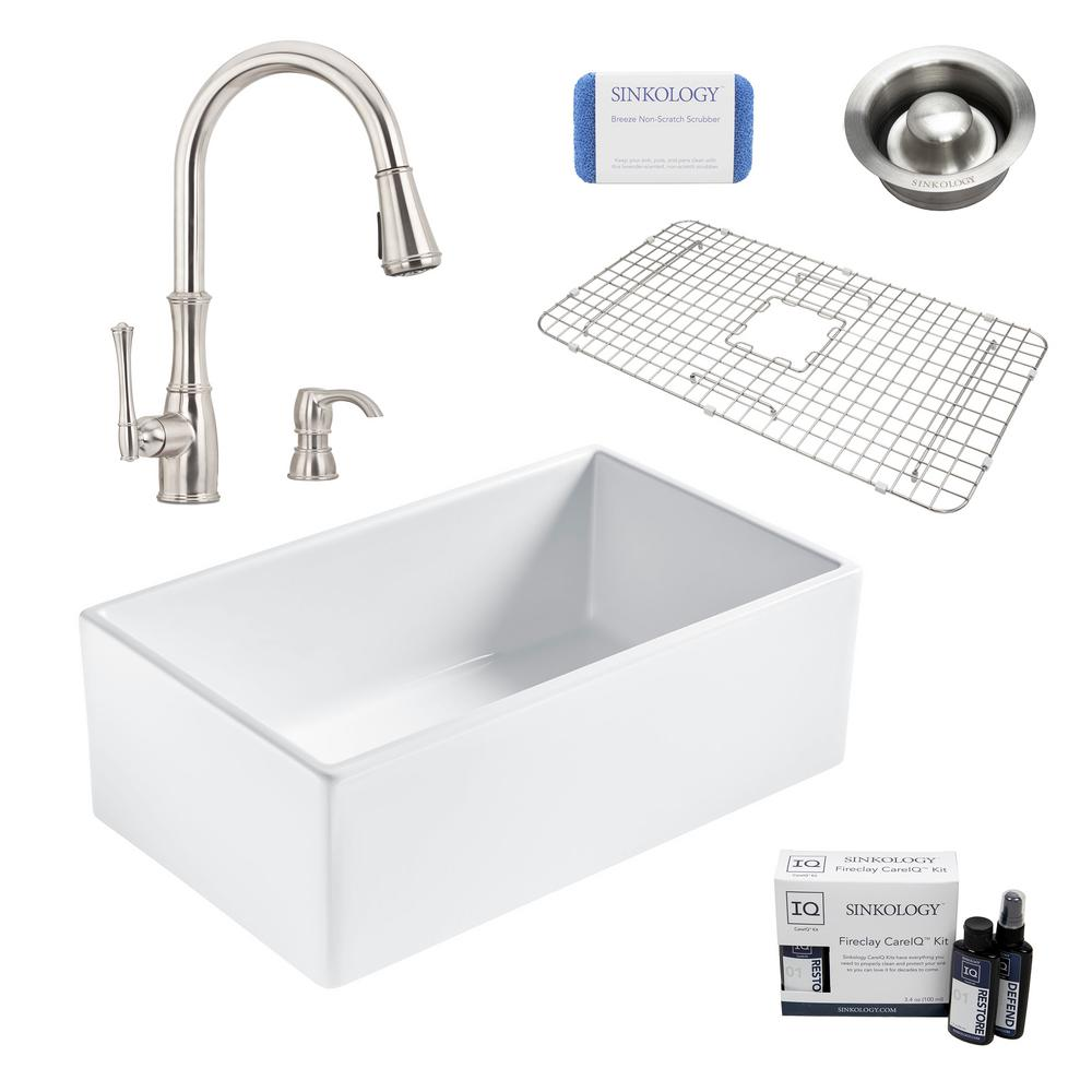 SINKOLOGY Bradstreet II All-in-One Farmhouse Fireclay 30 in. Single Bowl Kitchen Sink with Pfister Faucet and Disposal Drain