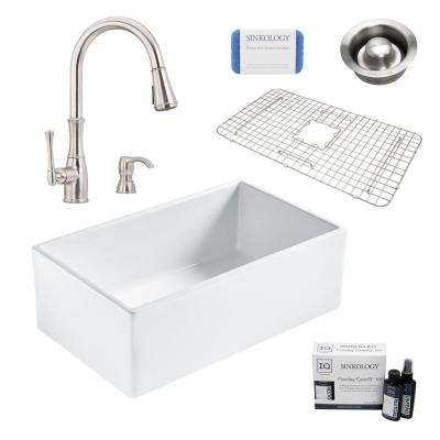 Bradstreet II All-in-One Farmhouse Fireclay 30 in. Single Bowl Kitchen Sink with Pfister Faucet and Disposal Drain