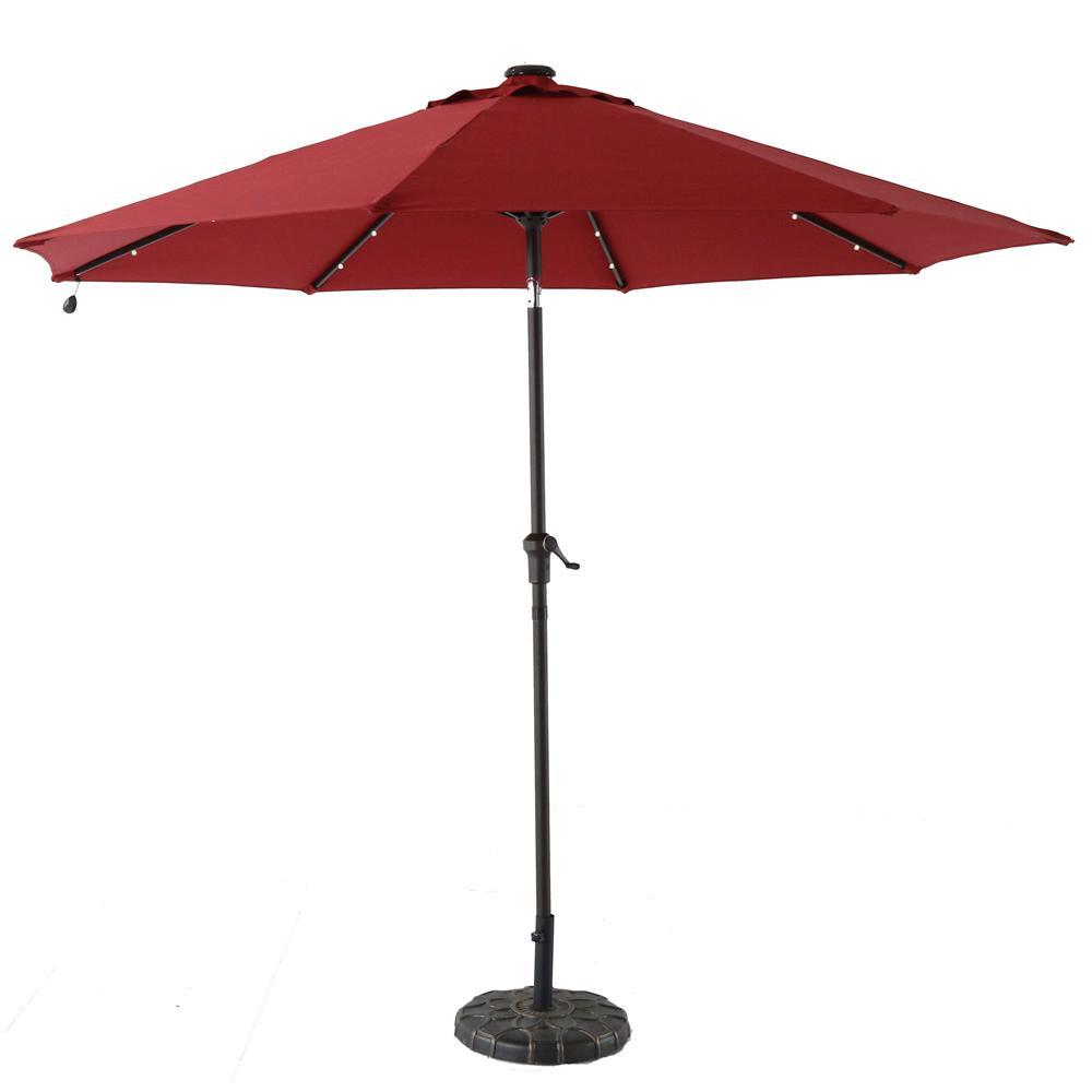 Hampton Bay 9 ft. Aluminum Solar Crank and Tilt Patio Umbrella in Chili