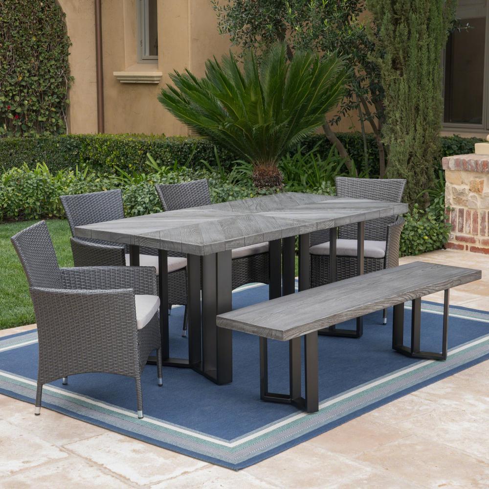 Taylor Grey Oak 6-Piece Polyethylene Wicker Outdoor Dining Set with Silver Cushions