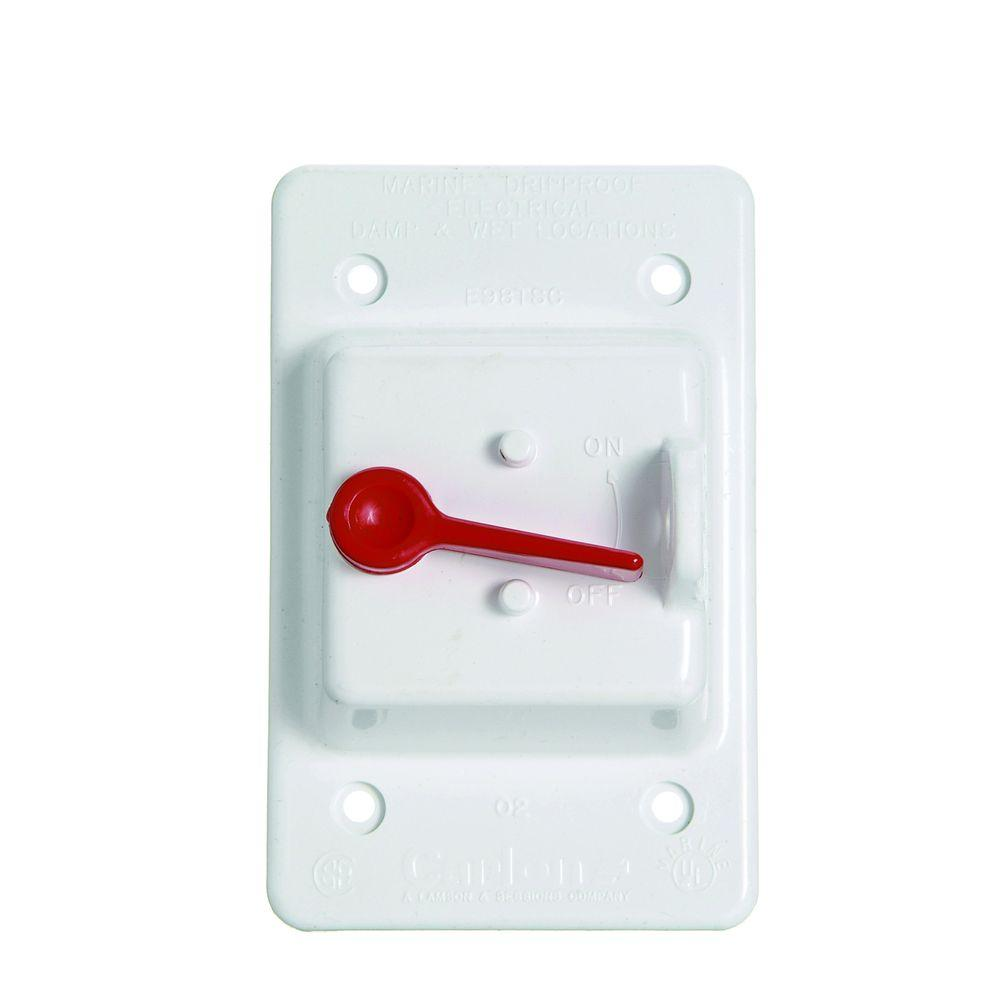 1 Gang Weatherproof Toggle Switch Cover - White (Case of 5)
