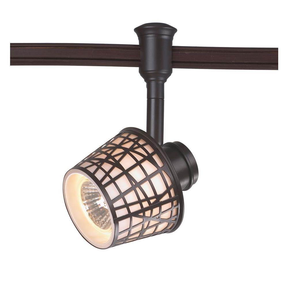 1-Light Bronze Convertible Basket Flexible Track Lighting Head
