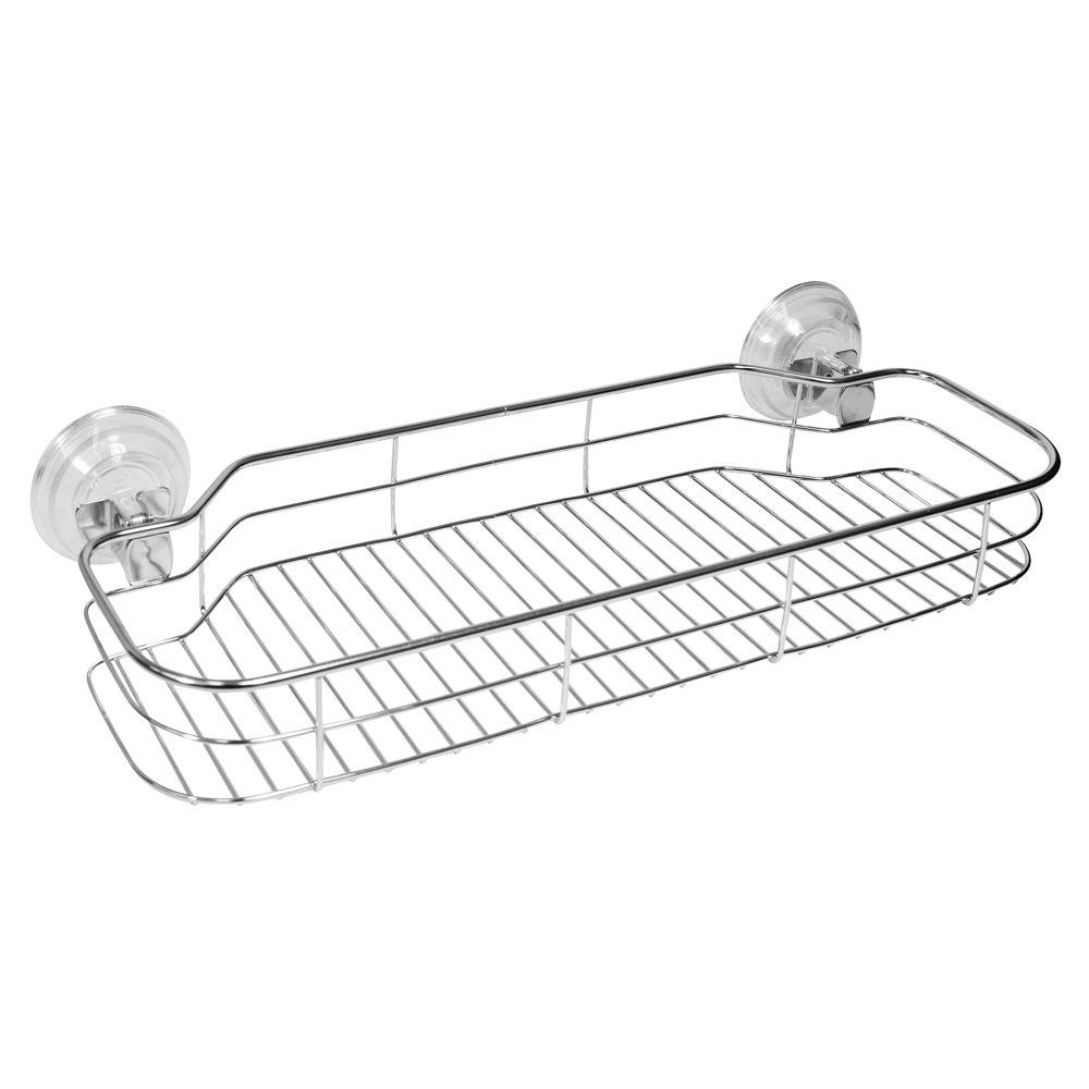 interDesign Reo PowerLock Suction Shelf in Clear/Stainless Steel