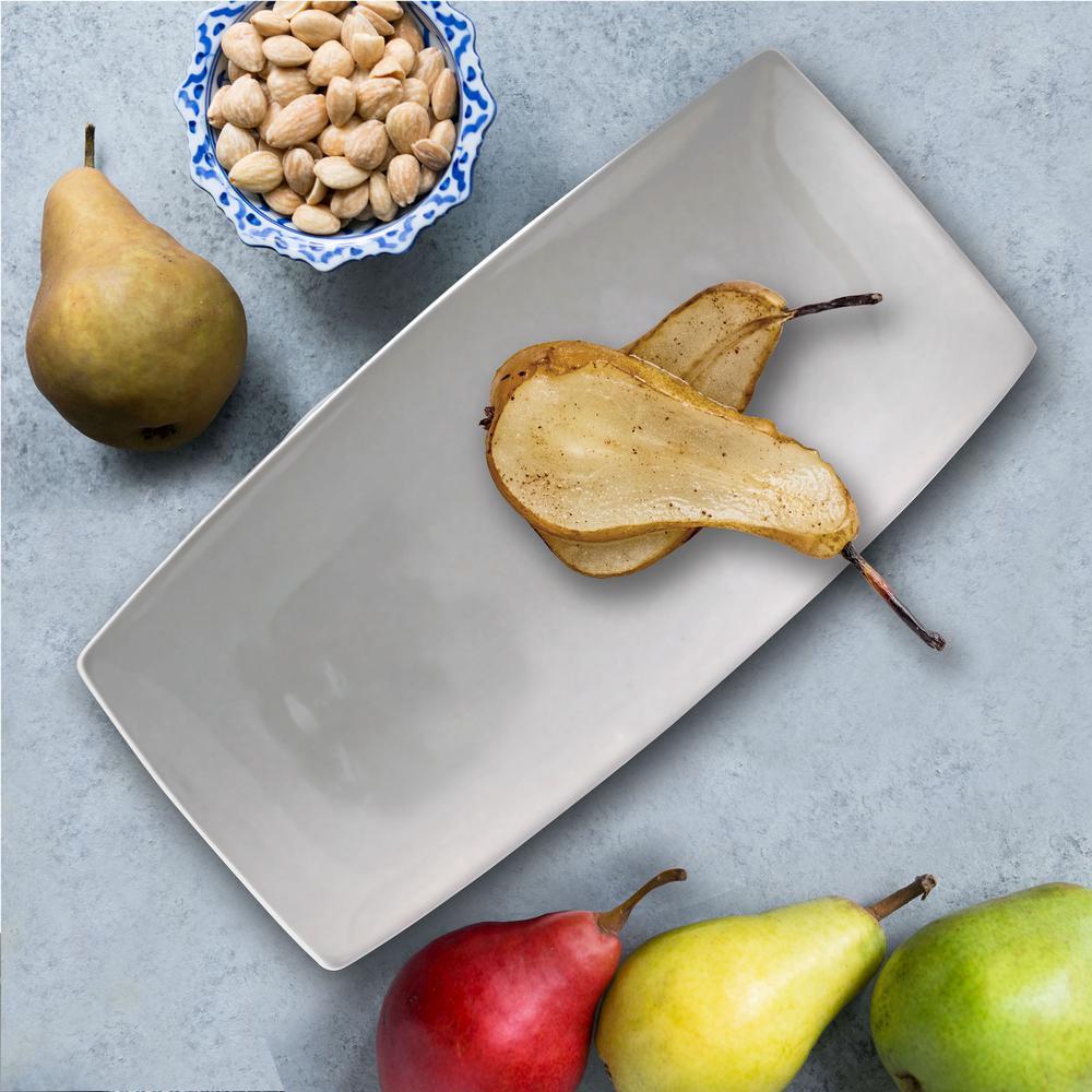 Gracious 2-Piece White Ceramic Dining Serving Platter Set