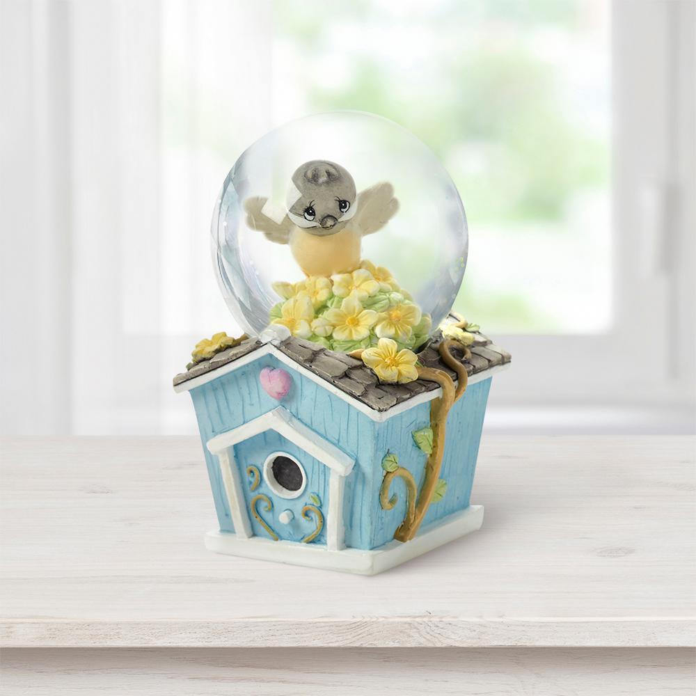 Tabletop Snow Globe Resin/Glass Mini Chickadee Birdhouse