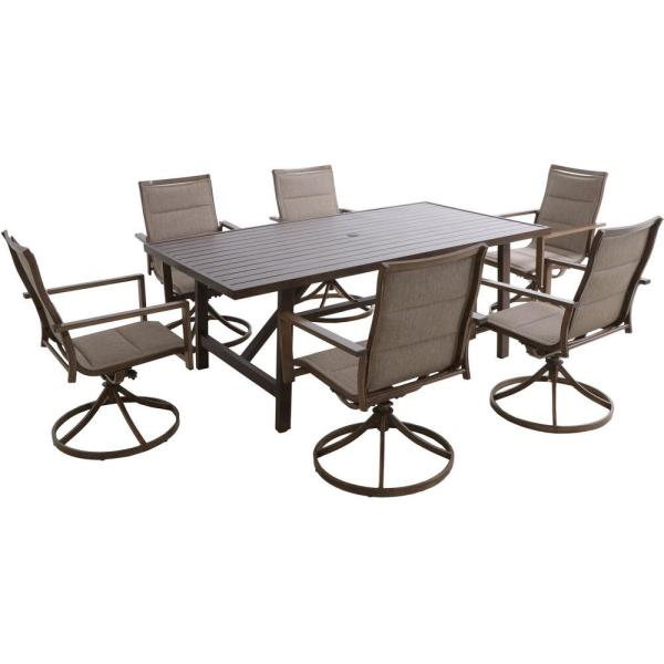 Hanover Fairhope 6 Padded Sling Swivel Rockers And A 7 Piece Steel Outdoor Dining Set With 74 In X 40 In Trestle Table In Tan Fairdn7pcsw6 Tan The Home Depot