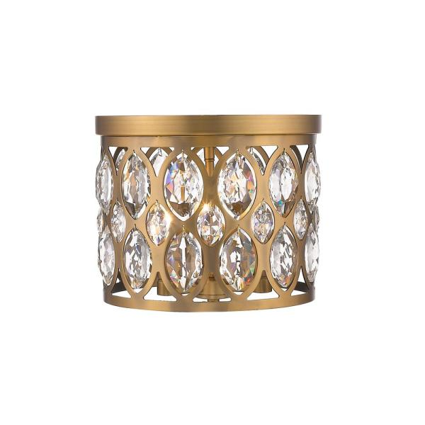 11.5 in. 2-Light Heirloom Brass Flush Mount with Clear Shade