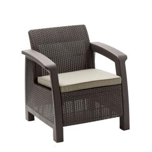 Bahamas Brown All-Weather Plastic Outdoor Patio Lounge Chair with Warm Taupe Cushion