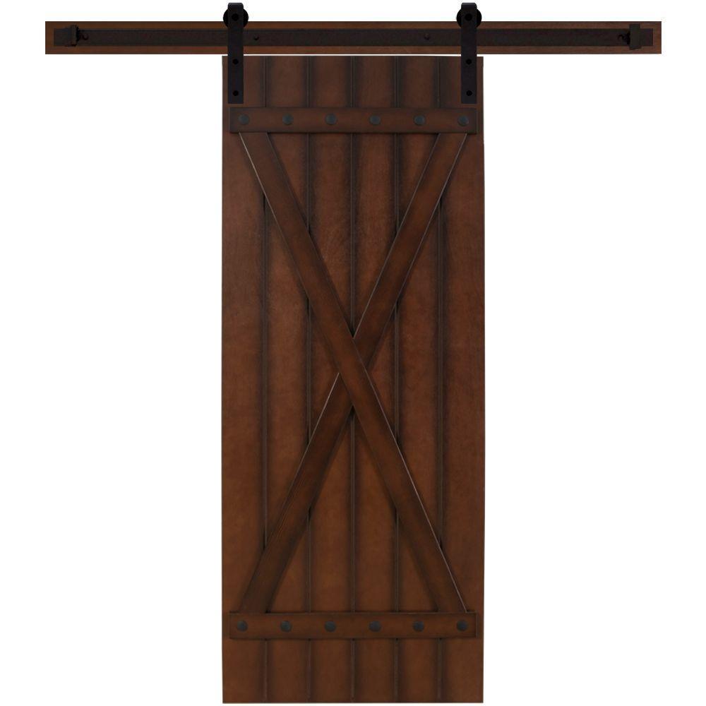24 in. x 90 in. Tuscan II Stained Hardwood Interior Barn Door with Sliding Door Hardware Kit