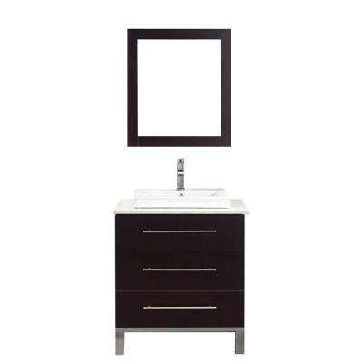 Ginza 28 in. Vanity in Chai with Nougat Quartz Vanity Top in Chai and Mirror