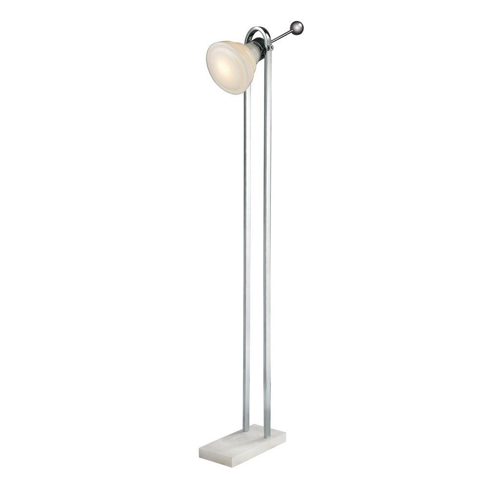 61 in. Polished Nickel Vintage Ball Handle Adjustable Floor Lamp