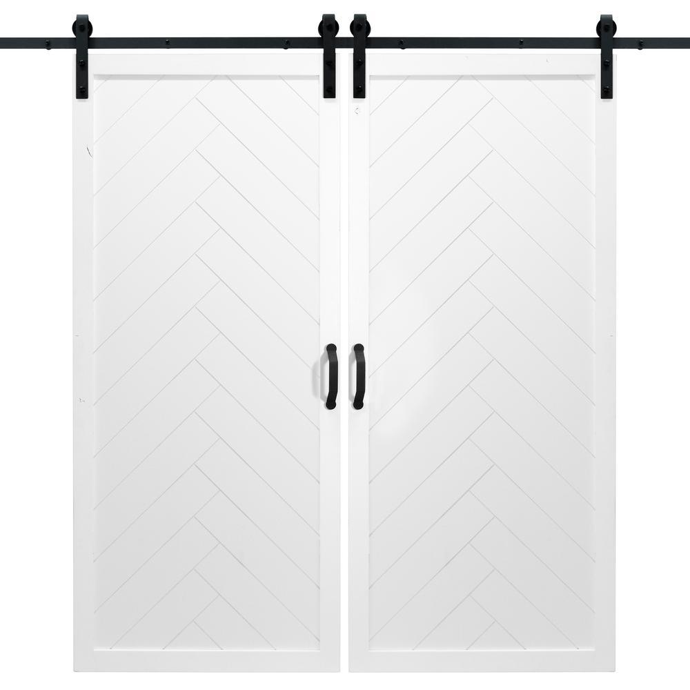 36 in. x 84 in. Herringbone White Double Sliding Barn Door with Hardware Kit