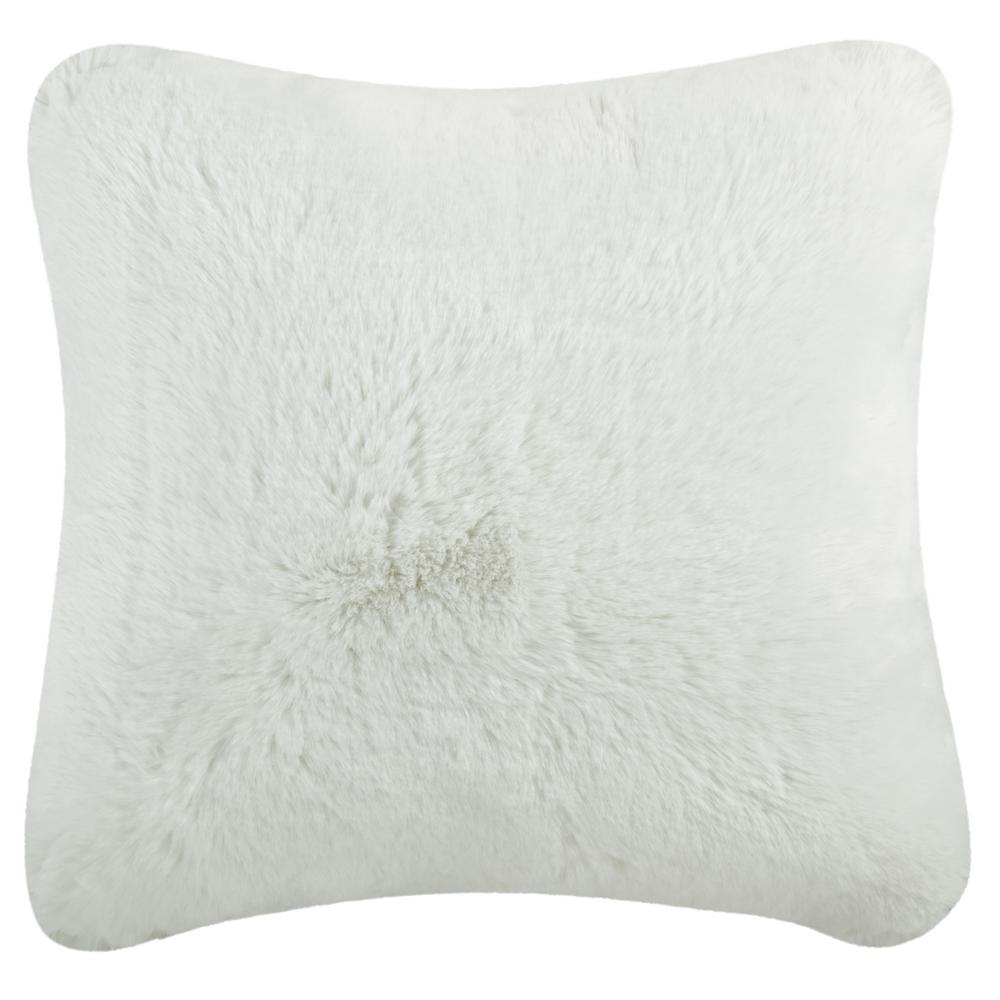 Safavieh Faux Chinchilla Snow White Solid Faux Fur Down Alternative 20 In X 20 In Throw Pillow Pls725a 2020 The Home Depot