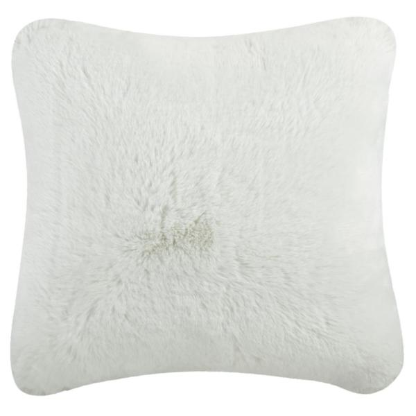 Faux Chinchilla Snow White Solid Faux Fur Down Alternative 20 in. x 20 in. Throw Pillow