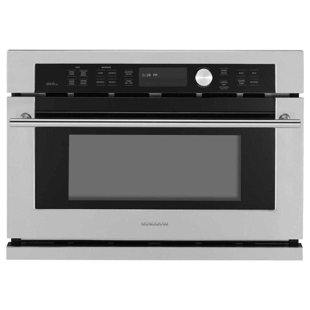 Ge Monogram 26 75 In Single Electric Wall Oven With Advantium Sdcook Stainless Steel