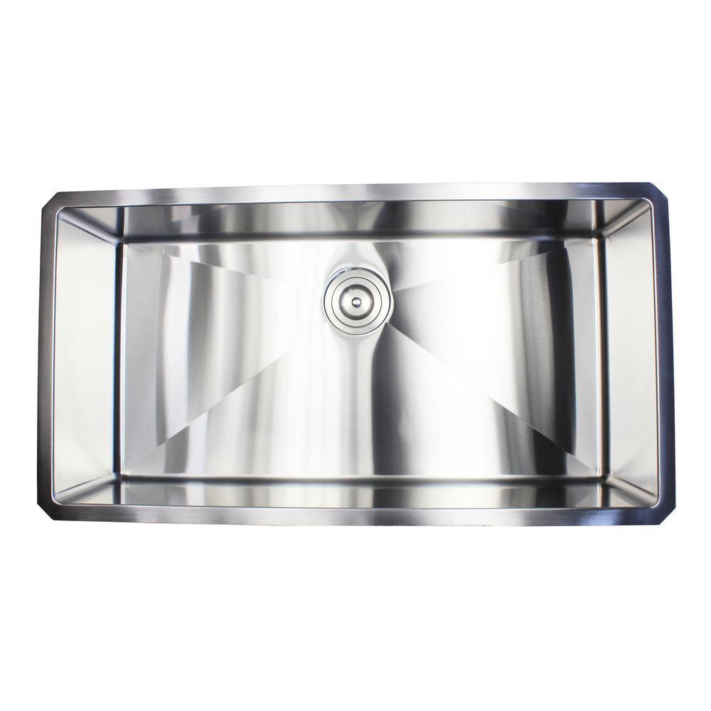 36 in. x 19 in. x 10 in. 16-Gauge Stainless Steel Undermount Single Bowl Kitchen Sink