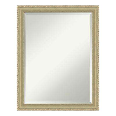 Champagne Teardrop Wood 21 in. x 27 in. Traditional Bathroom Vanity Mirror