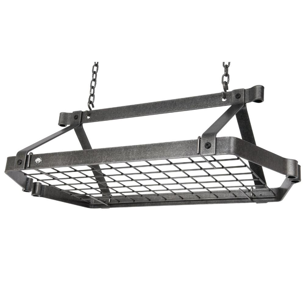 Enclume Decor Retro Rectangle Ceiling Pot Rack in Hammered Steel