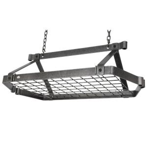 Enclume Decor Retro Rectangle Ceiling Pot Rack in Hammered Steel by Enclume