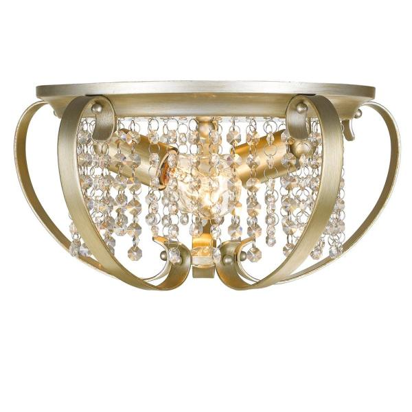 Ella 2-Light White Gold Flush Mount Light