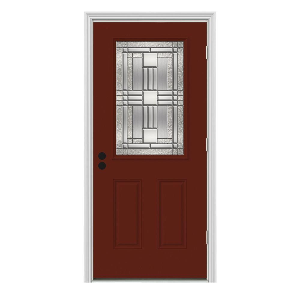 Jeld Wen 32 In X 80 In 1 2 Lite Cordova Mesa Red Painted
