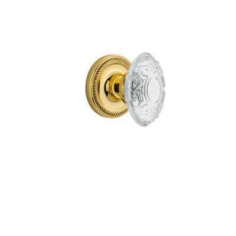 Rope Rosette Unlacquered Brass Single Dummy Crystal Victorian Door Knob