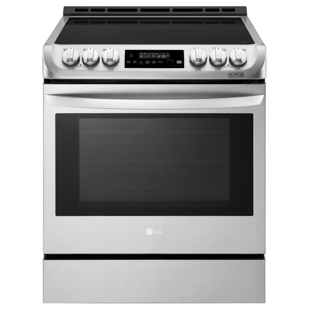 LG Electronics 6.3 cu. ft. 30 in. Slide-In Electric Smart Range with ProBake Convection, Induction, Self Clean in Stainless Steel