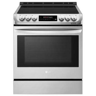 6.3 cu. ft. 30 in. Slide-In Electric Smart Range with ProBake Convection, Induction, Self Clean in Stainless Steel