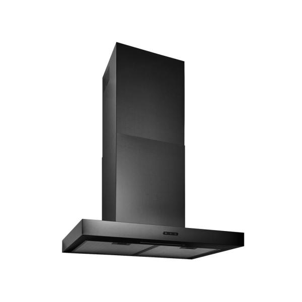 30 in. Convertible Wall Mount T-Style Chimney Range Hood with LED Light in Black Stainless Steel
