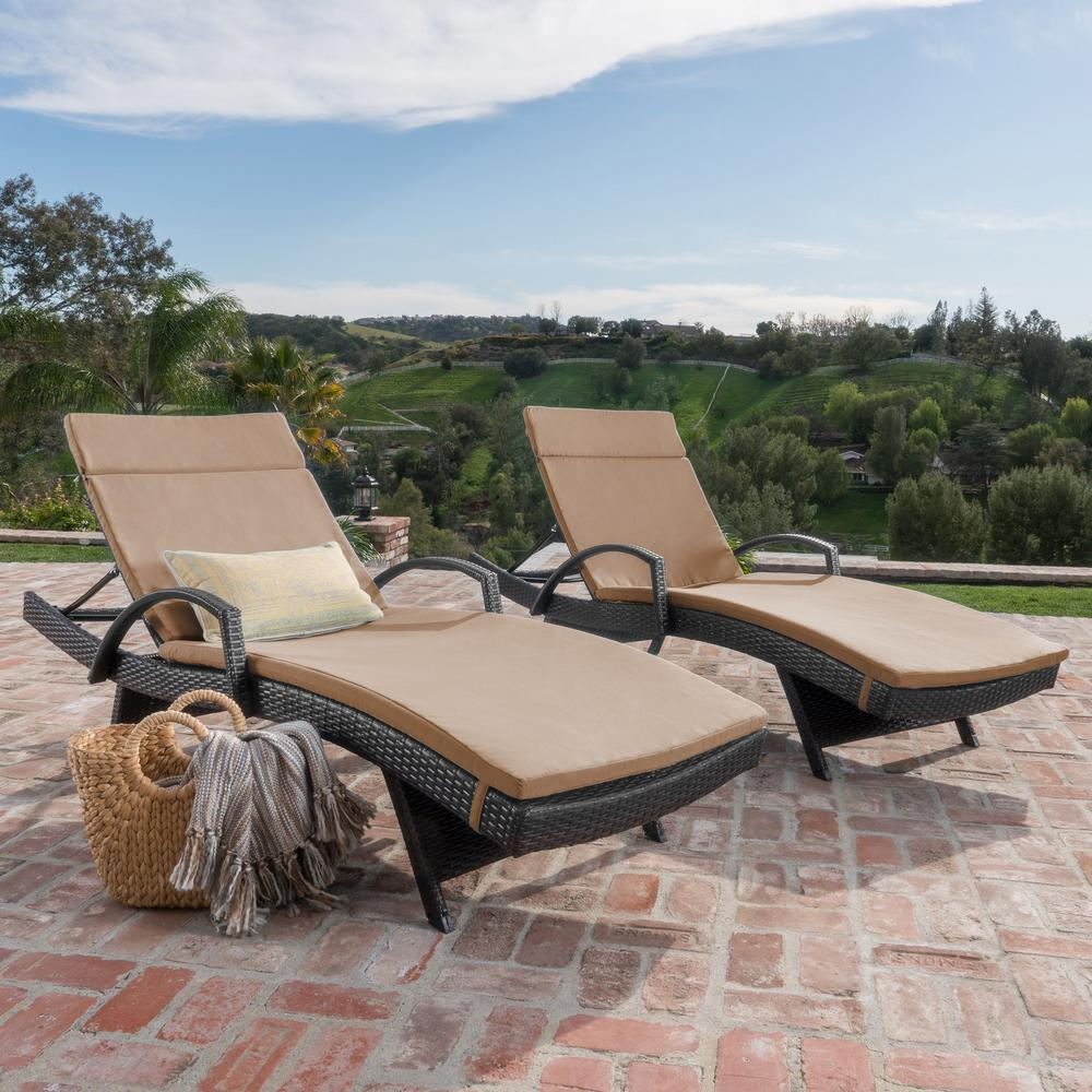 Salem Multi-Brown 4-Piece Wicker Outdoor Chaise Lounge ...