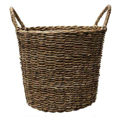 14.5 in. Dia Seagrass Basket Planter in a Natural Finish with Plastic Liner