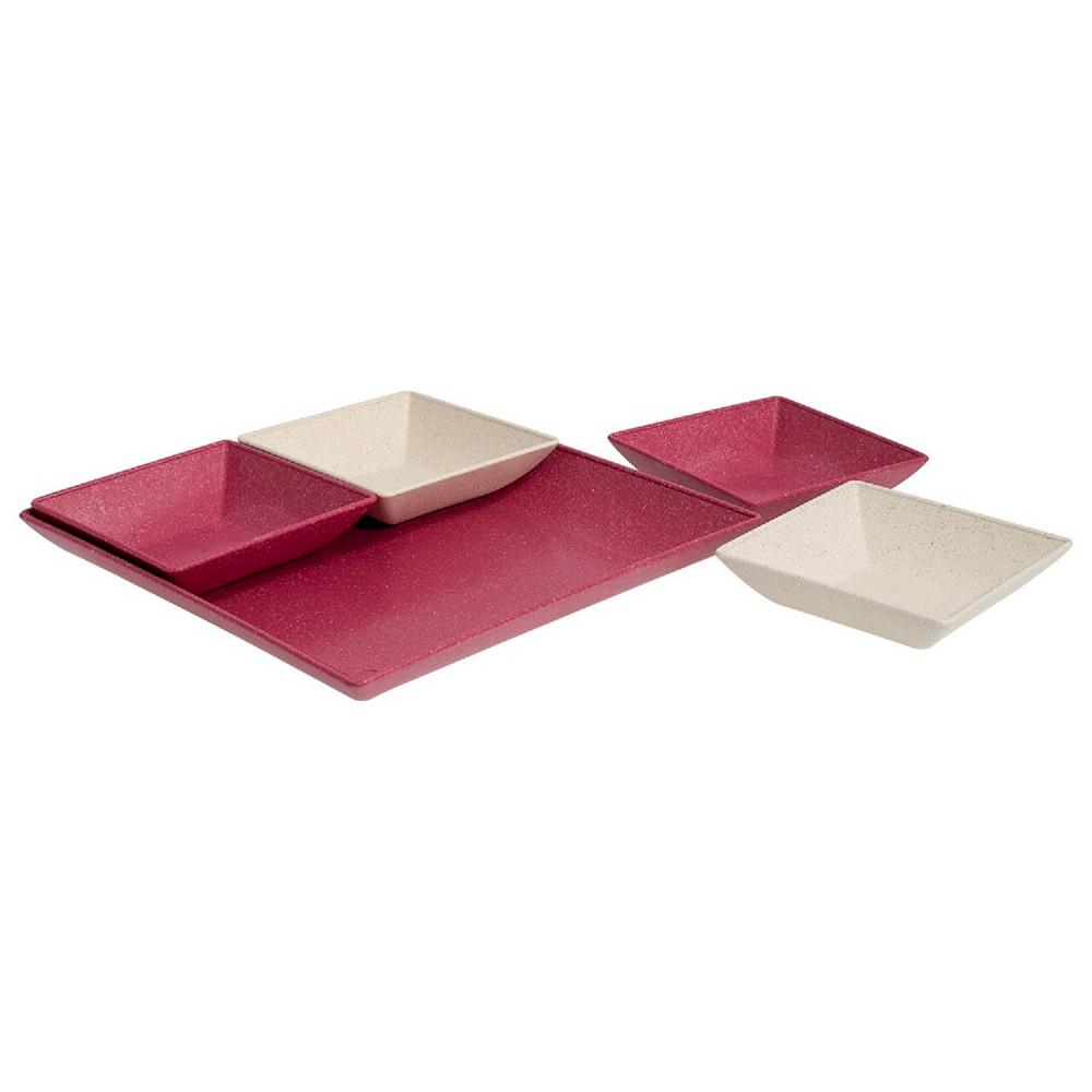 EVO Sustainable Goods Pink Eco-Friendly Wood-Plastic Composite Serving &