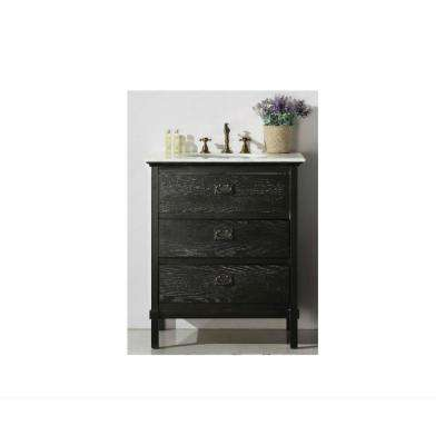 30 in. Vanity in Black with Marble Vanity Top in White with white Basin