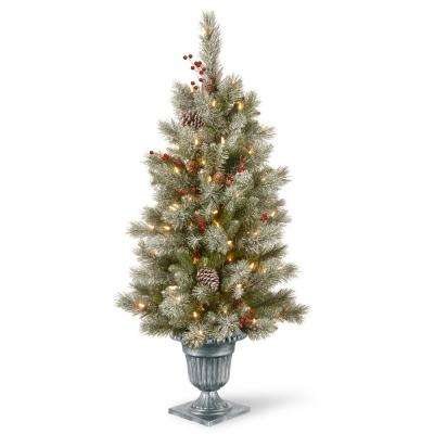4 ft. Feel Real Snowy Bristle Berry Entrance Tree in Silver Brushed Urn with Red Berries, Mixed Cones and 100 Clear Lig