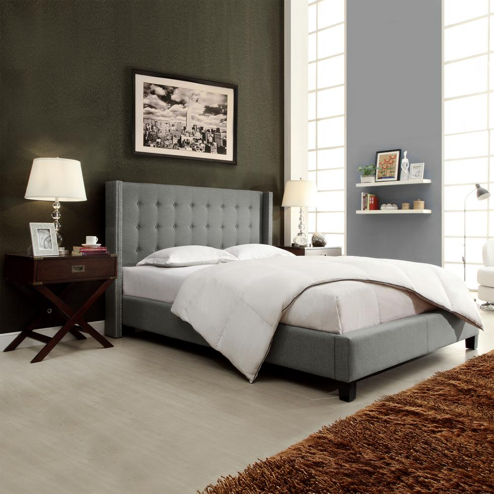 HomeSullivan Franklin Park Grey Queen Upholstered Bed