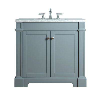 Seine 36 in. W x 22 in. D Bath Vanity in Gray with Marble Vanity Top in Carrara White with White Basin