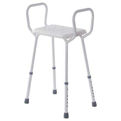 Adjustable Height Shower Seat with Arm Rests in White